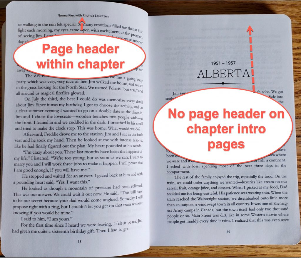 Photo of a book layout showing how page headers appear on every page in the book except chapter introductions and other special pages. My writing a book template at the bottom of the article shows how I did this layout in Microsoft Word.