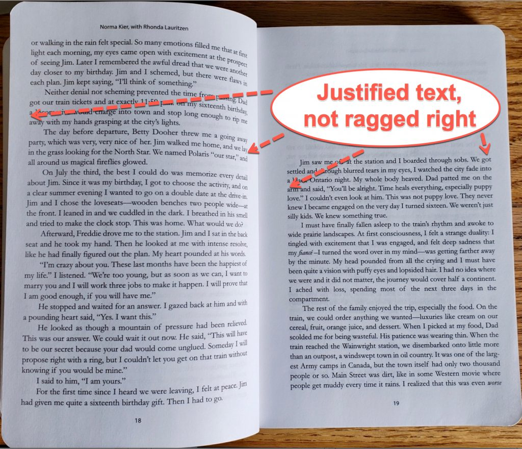 Photo of an interior layout of a book showing how the text is fully justified and not ragged right. My writing a book template at the bottom of the article shows how I did this layout.