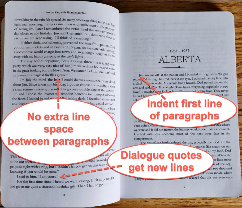 Image of an interior book layout showing how there is no extra space between paragraphs, dialogue quotes get their own news lines, and each new paragraph is set up to automatically indented. My writing a book template at the bottom of the article shows how I did this layout.