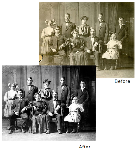 Before and after images of restored photos.
