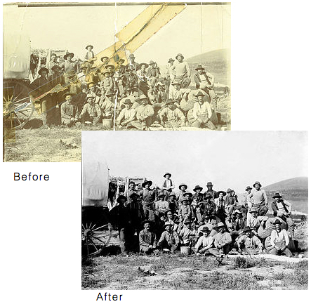 Before and after images of restored photos. Image was faded, marked, ripped and stained.