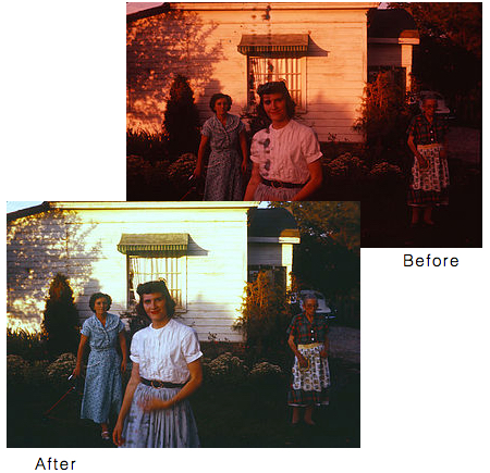 Before and after images of restored photos